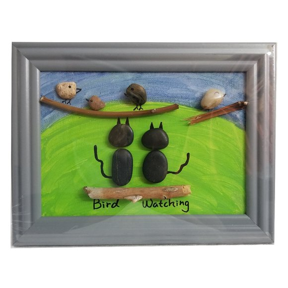 Cats Birds Watching Pebble Art Picture Hand Paint